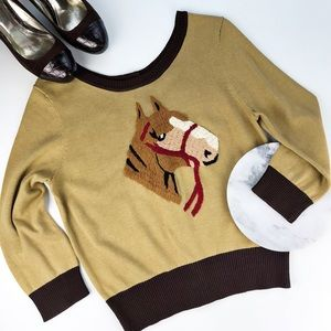 Knitted Dove Horse Sweater Embroidered Button Back